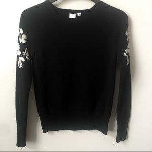 Gap Merino Wool Blend Floral Shoulder Sweater